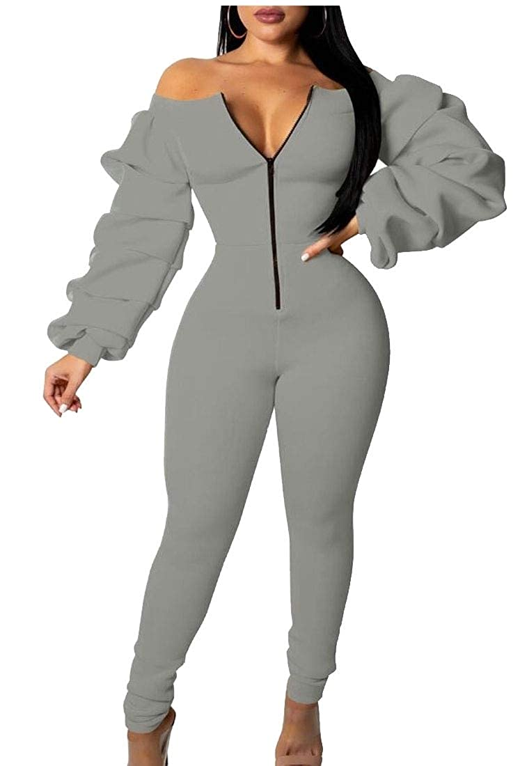 WSPLYSPJY Womens Off Shoulder Long Puff Sleeve Zipper Front Bodycon Long Jumpsuit Romper