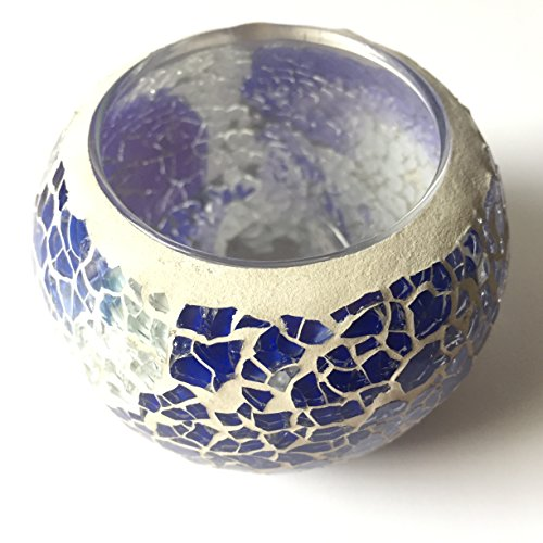 Stained Glass (Blue&White) Tea Light Candle Holders Mosaic Candle Holder is for Weddings and Home Décor