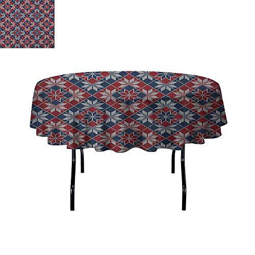 DouglasHill Nordic Printed Tablecloth Wool Knit Pattern with Tartan Geometric Stripes Flower Figures Print Desktop Protection pad D70 Inch Ruby Dark Blue Coconut