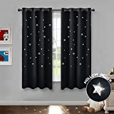 PONY DANCE Stars Curtain Panels - Window Treatments Thermal Insulated Room Darkening Ring Top Blackout Curtain Magical Fairy Drapes Decoration Living Rooms, W 52 x L 63 Inch, Black, Two Pieces