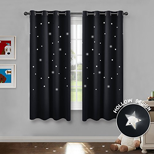 PONY DANCE Stars Curtain Panels - Window Treatments Thermal Insulated Room Darkening Ring Top Blackout Curtain Magical Fairy Drapes Decoration for Living Rooms, W 52 x L 63 Inch, Black, Two Pieces