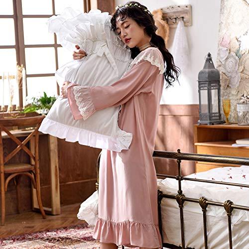 Pizzo Donna Viscosa Rosa GZZ Camicie Pigiameria Da Notte Da A Lunga Scollo L Pigiami V Pigiama Notte Da q66EFwfBC