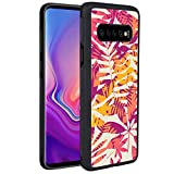 KASOS Phone Case for Samsung Galaxy S10 Case Bright Tropical Leaves Reinforced Drop Protection Hard PC Back Flexible TPU Bumper Protective Case