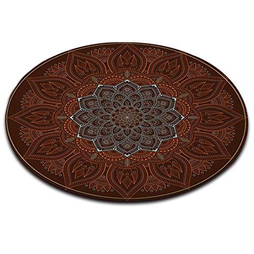 LB Indian Oriental Circle Carpet Rugs,Flannel Microfiber Non-Slip Machine Washable Mandala Style Round Memory Foam Area Rug Bedroom Living Dining Room Floor Mats Home Decor 4