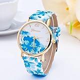 RICISUNG Hot Fashion Women Dress Watch Silicone Printed Flower Causal Quartz Wristwatches