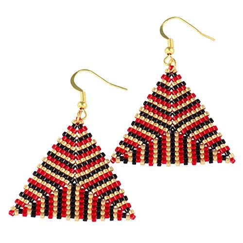 TUMBEELLUWA Bohemian Dangle Earrings Crystal Seed Beads Drop Earring Hook Handmade Jewelry for Women Lightweight,Triangle Style,Red