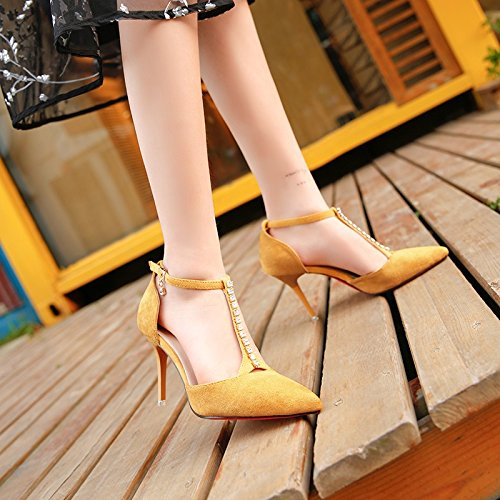 8ab43e77bdee23 LGK FA Summer Women S Sandals Summer High Heels Fine Pointed Heel Baotou  Diamond Women S Shoes Side Air Sandals 36 Yellow  Amazon.co.uk  Sports    Outdoors