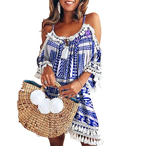 Cap Womens T-shirts Bride Sleeve - Sumeimiya Women Off Shoulder Dress,Ladies Halter Beach Dresses Tassel Short Cocktail Party Sundress