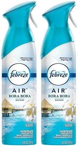 Febreze Air Refresher Spray - Bora Bora Waters - Net Wt. 8.8 OZ Per Bottle - Pack of 2 Bottles
