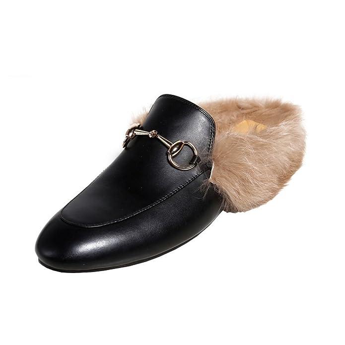 f03a345afc57d0 YE Damen Flache Mules Leder Pantoletten Geschlossen mit Fell Bequem Slipper  Schuhe CrxYJG
