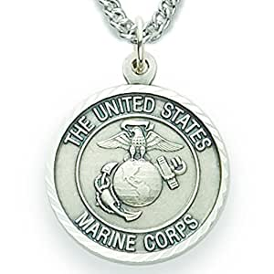 """3/4"""" Sterling Silver Marines Medal, St. Michael on Back on 20"""" chain"""