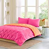Alternative Comforter - Intelligent Design Trixie Reversible Down Alternative Comforter Mini Set, Pink/Orange, King/California King
