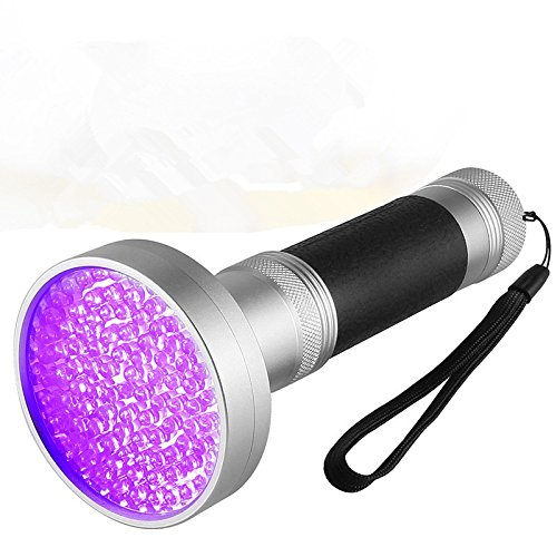 UV Black Light Flashlight, Super Bright 100 LED #1 Best Pet Dog Cat Urine Detector light Flashlight for Urine Stains, 395nm UV Blacklight Flashlight for Bed Bugs Scorpions, Home Hotel (100 Led Aluminum Flashlight)