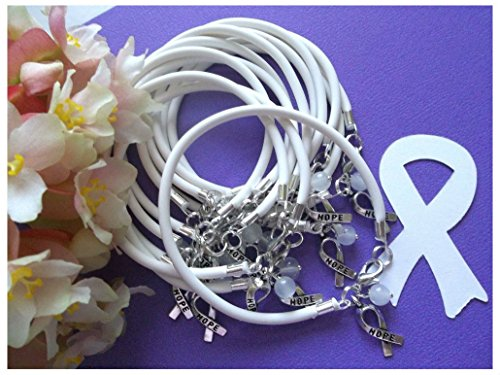 1 DZ Lung Cancer Awareness Bracelets/White /'Hope' Ribbon Charm]()