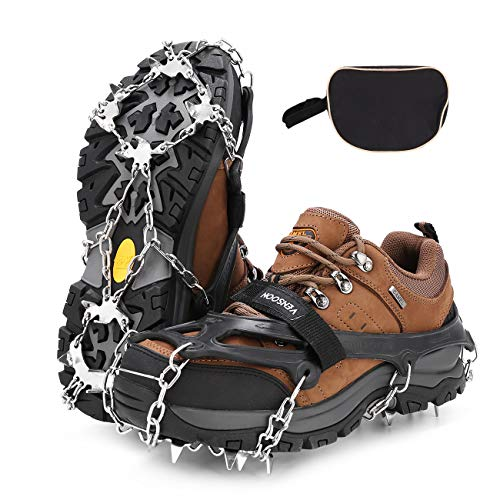Vensoon Traction Ice Cleats - Ice Grips for Shoes 19 Spikes Crampons for Boots Running Shoes Walking On Ice Snow Easy Slip On Stainless Steel Chain (LargeSize) (The Ice On Slip)