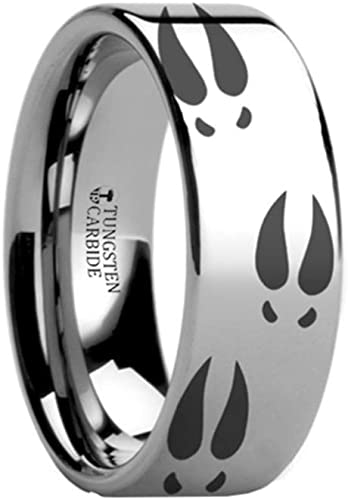 Thorsten Animal Jumping Horse on Hind Legs Equestrian Print Pattern Flat Polished Tungsten Ring 10mm Wide Wedding Band from Roy Rose Jewelry