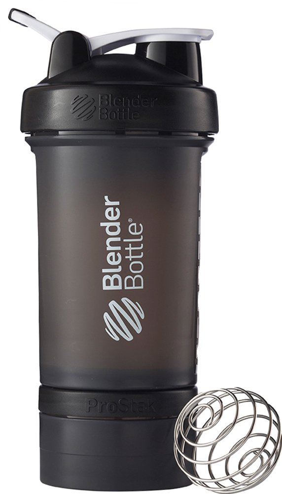 BlenderBottle ProStak System with 22-Ounce Bottle and Twist n' Lock Storage, Black/Black
