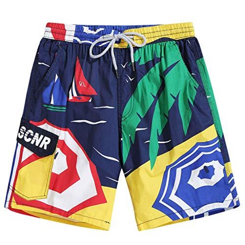 Shorts for Men,Wadonerful hot Panties Fashion Printed Summer Beach Pants Vacation Loose surf Short Sweatpants Yellow