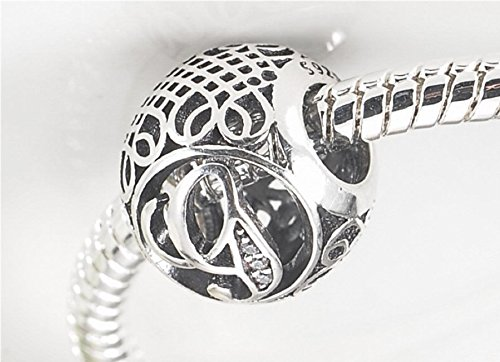 26 Letter Initial Character 925 Sterling Silver Bead Charm fit Pandora Chamilia Bracelet Necklace Jewlery (Letter J)