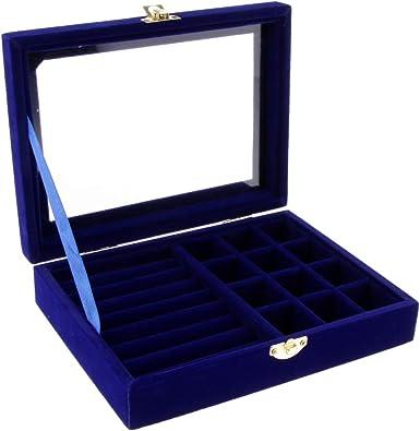 P Prettyia Caja de Joyas de Terciopelo Organizador Joyero para Collar Anillos Aretes - Azul Oscuro: Amazon.es: Joyería