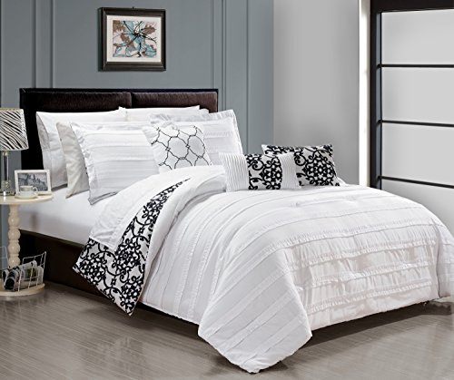 Chic Home 10 Piece Lea Complete Pleated ruffles and Reversible Printed Bed In a Bag Comforter Set of Sheets, King, White