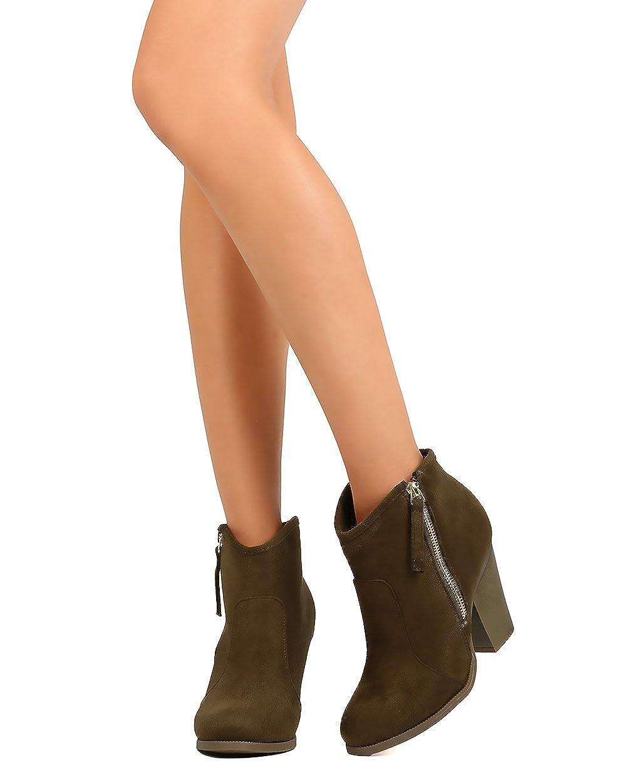 Liliana Women Suede Round Toe Chunky Heel Ankle Riding Bootie CJ46