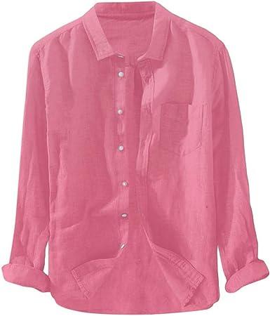 Camiseta Camisa Hombres Manga Larga Algodon Lino Color Solido Tallas Grandes Baratas Top Csaual Moda Confort Primavera Verano Xl Rosa Amazon Es Ropa Y Accesorios