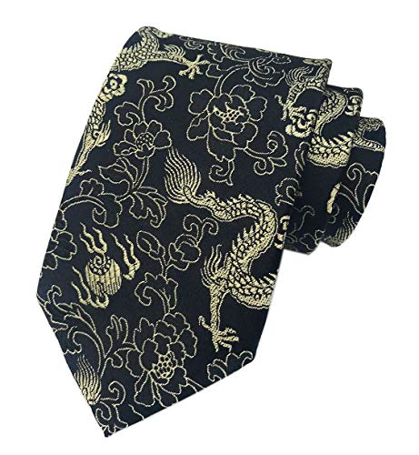 Black Gold Jacquard Woven Silk Ties Formal Neckties Best Present Gifts for Mens (Gold White Dragon Shirt)