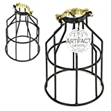 Set of 2 Industrial Vintage Style Top Black Light Cage for Pendant Light Lamps