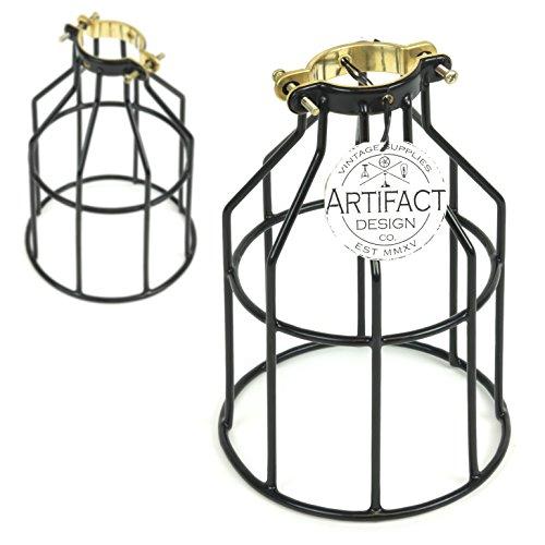 Rustic State Set of 2 Industrial Vintage Style | DIY Farmhouse Metal Wire Cage for Hanging Pendant Lighting | Light Fixture Lamp Guard Black (Wire Pendant Cage)