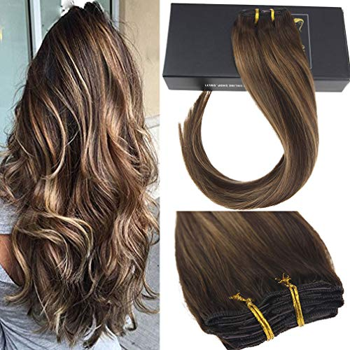 Sunny Clip in Hair Extensions Dark Brown 16 inch Remy Hair Full Head Set Balayage Clip in Extensions Dark Brown Mixed Caramel Blonde Silky Straight 120g 7pcs