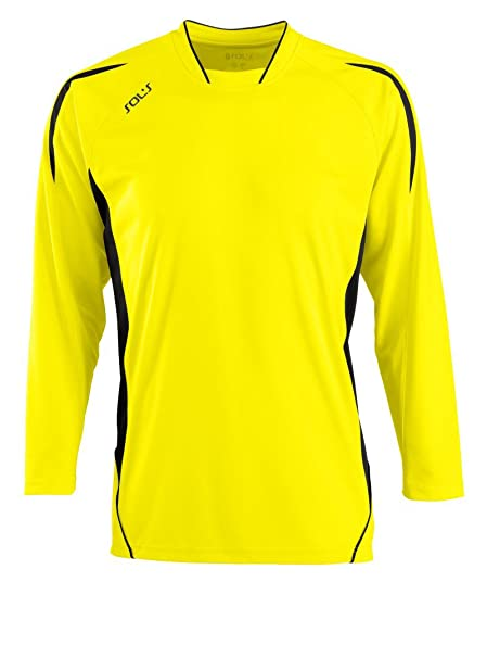 SOLS Camiseta de fútbol de manga larga para hombre Maracana, Hombre, color Lemon/