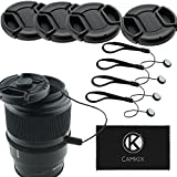 Lens Cap Bundle - 4 Snap-on Lens Covers for DSLR Cameras including Nikon, Canon, Sony - Lens Cap Keepers included (49mm)