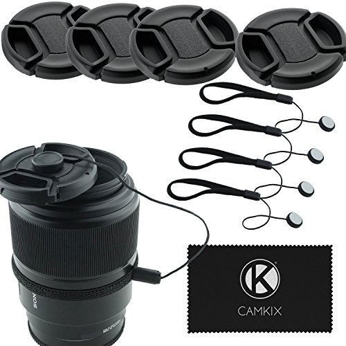 72mm Lens Cap Bundle - 4 Snap-on Lens Caps for DSLR Cameras - 4 Lens Cap Keepers - Microfiber Cleaning Cloth Included - Compatible Nikon, Canon, Sony Cameras - Caps Aware