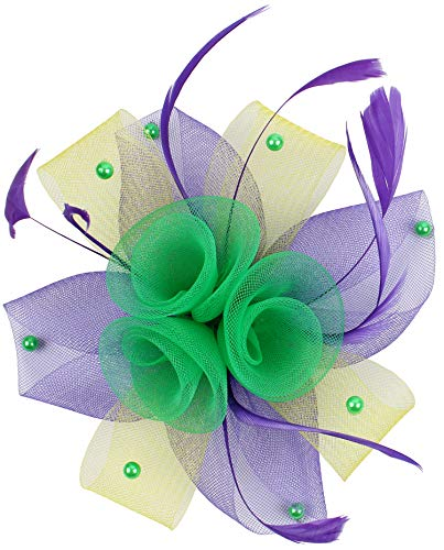 JASMINO Women Mardi Gras Fascinator Hats Hair Clip Flower Brooch Feather Headband Mesh Veil Derby Tea Pillbox Cocktail Party(03-Purple Yellow Green 3)]()