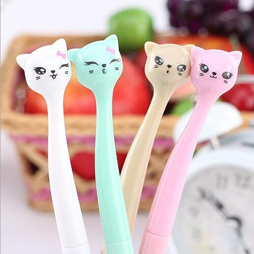 4 Pieces/Lot Kawaii cat design 0.5mm gel pen Stationery black ink pens Office stylo material school supplies (RANDOM COLOR)