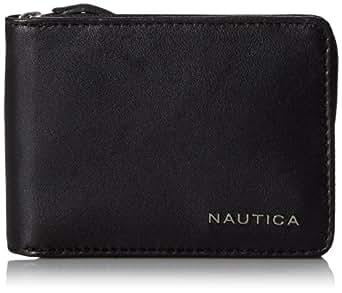Nautica Men's Leather Slim Zip Wallet,Black,