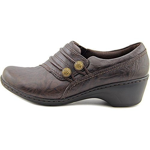 cheap Clarks Channing Leary Women Round Toe Leather Brown Loafer