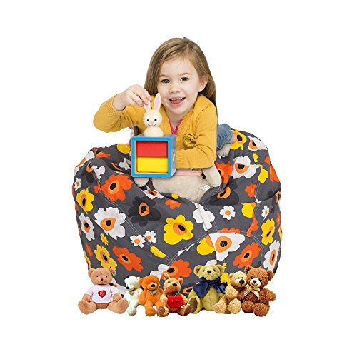 CALA EXTRA LARGE 38'' Stuffed Animals Bean Bag Chair Cover - Pouf Ottoman for Toy Storage - 100% Cotton Canvas Toy Organizer for Kids 5 Patterns (Grey (Canvas Ottoman)
