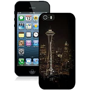 Beautiful And Unique Designed Case For iPhone 5 With Seattle Space Needle Night City Skyline Black Phone Case