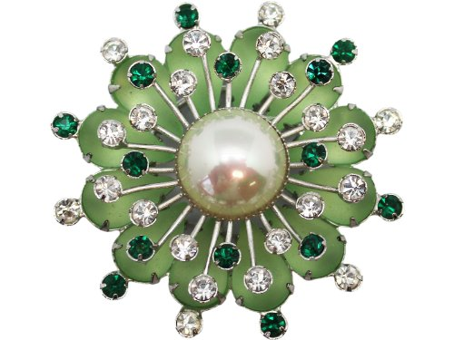 Green Studded Flower Brooch With Faux Pearl Center