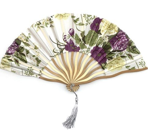 White Purple Bamboo Hollow Flower Hand Fan Folding Pocket Fan Wedding Decoration Mariage by Hand Fan