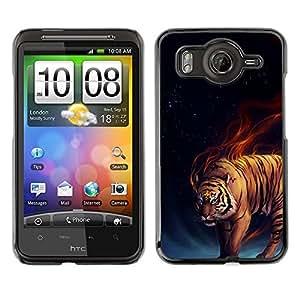 TECHCASE**Cubierta de la caja de protección la piel dura para el ** HTC G10 ** Tiger Fire Fiery Blue Darkness Black Animal