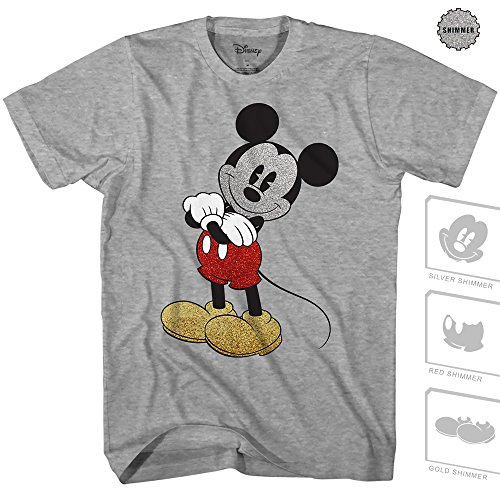 Mickey Mouse Cracked Graphic Tee Classic Vintage Disneyland World Mens Adult Graphic Tee T-Shirt Apparel (Heather Grey, -