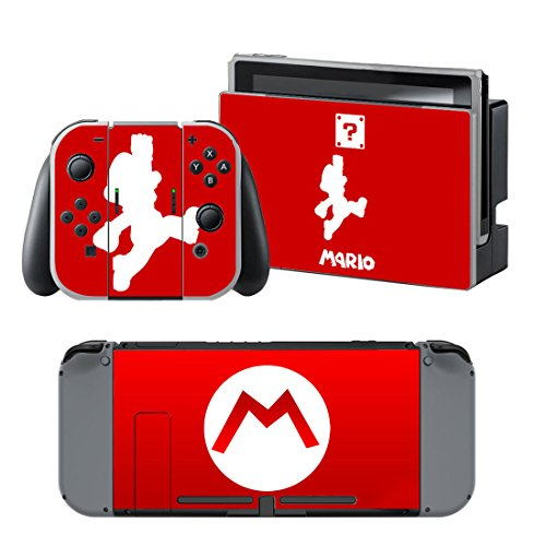 MARIO RED Nintendo Switch Controller Cover Skin Set for Console Dock Joy Con Vinyl Decal Sticker Protector by BR