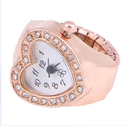 FunnyDay Copper Tone Heart Shape Housing Elastic Band Finger Ring Watch For Women