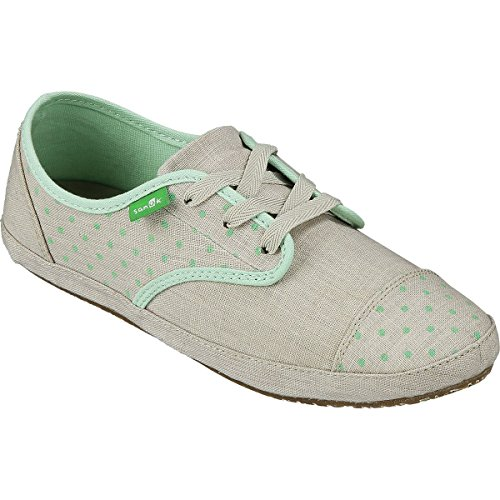 Sanuk Womens Sock Hop Natural/Mint Dots