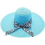 Beach Cap Women Print Two-Side Big Brim Straw Hat Sun Floppy Wide Brim Hats Blue