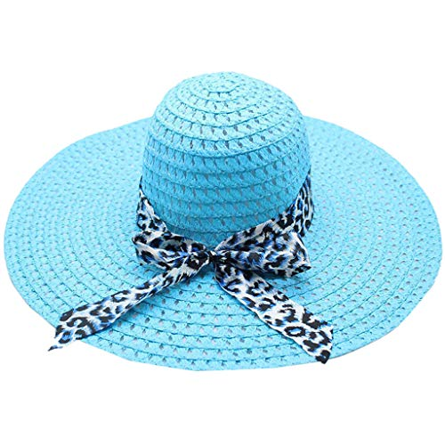 Beach Cap Women Print Two-Side Big Brim Straw Hat Sun Floppy Wide Brim Hats Blue - Golf Screen Print Cap