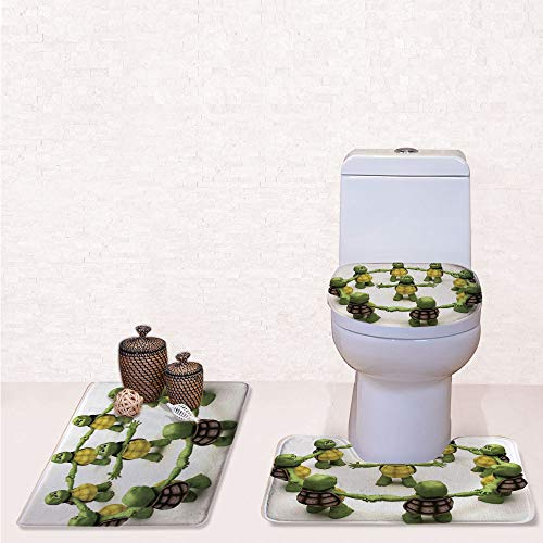 Print 3 Pieces Bathroom Rug Set Contour Mat Toilet Seat Cover,Ninja Turtles Dancing Tortoise Team Relax Fun Happiness Childhood Kids Print Decorative with Green White Brown,Decorate Bathroom,Entrance